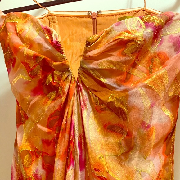 Nicole Miller full length silk strapless dress